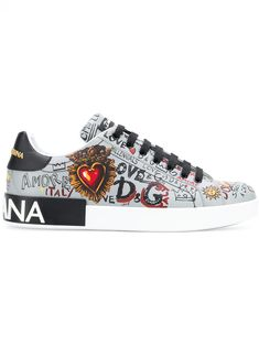 new styles 62cf5 a2aca Dolce   Gabbana Portofino Graffiti Print Sneakers - Farfetch