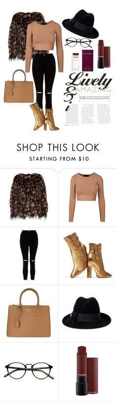 """""""Gold"""" by tina-b-26 ❤ liked on Polyvore featuring Dries Van Noten, New Look, Gianvito Rossi, Prada, Gucci and Dolce&Gabbana"""
