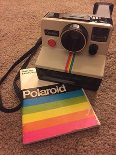 Vintage Polaroid SX-70 One Step White Rainbow Stripe Instant Land Camera    eBay