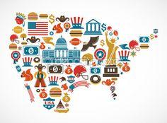 Карта Америки с многих векторные иконки — Cтоковый вектор #22300201