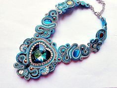 SOUTACHE Christmas Fairy necklace Wedding soutache turquoise necklace with Swarovski heart of bridal party evening sparklin Ribbon Jewelry, Beaded Jewelry, Handmade Jewelry, Shibori, Butterfly Bracelet, Soutache Necklace, Birthday Gifts For Girlfriend, Christmas Fairy, Fantasy Jewelry