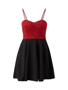 Cameo Rose Burgundy Sequin Lace Sweetheart Neck Skater Dress  | New Look