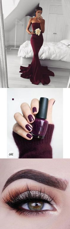 prom ideas, prom nails, prom makeup, 2017 burgundy long prom dress