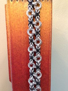 Chainmaille Bracelet Black and Silver by MischiefOfMice on Etsy, $30.00