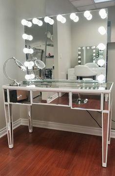 Large Glam Mirrored Makeup Vanity Table w/ Crystal Knobs Mirrored Vanity Table, Mirrored Bedroom Furniture, Makeup Table Vanity, Vanity Room, Furniture Decor, Bedroom Decor, Vanity Ideas, Mirror Desk, Bedroom Vanities