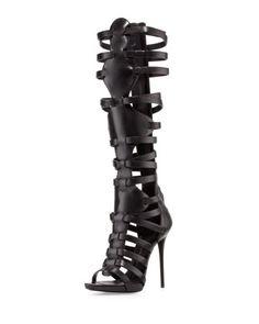 #strappyheels #trybeforeibuy High-Heel Caged Knee Sandal by Giuseppe Zanotti at Bergdorf Goodman.