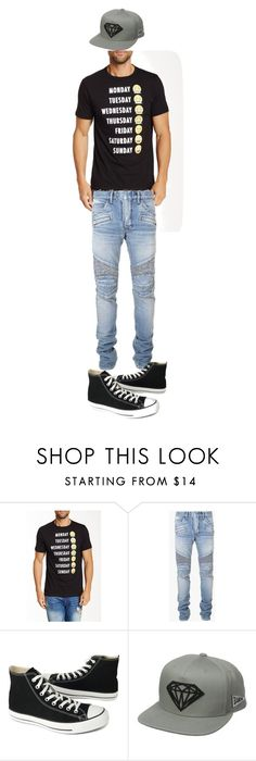 """""""Emoji swag"""" by lawrenceallen ❤ liked on Polyvore featuring Public Opinion, Balmain, Converse, Diamond Supply Co., men's fashion and menswear"""