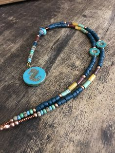 Boho necklace - artisan necklace - beaded necklace - seahorse necklace, bohemian necklace , hippie jewelry by Omanie on Etsy
