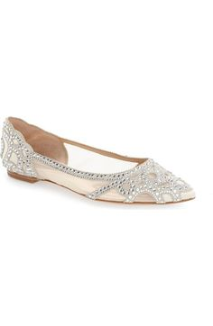 Badgley Mischka 'Gigi' Crystal Pointy Toe Flat (Women) available at #Nordstrom