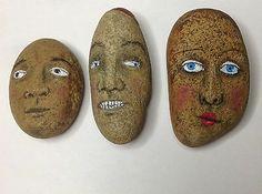 Outsider Art Original Painting Stone Caveman Kaveman Raw Folk Tony Rock Face