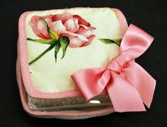 """ricami a mano fiorentini   Porta cotton fioc """"Balza Rose"""""""