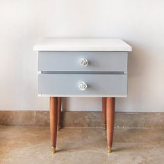 Mid Century Modern Cabinet, RESTORED; Vintage Danish style 1960s Bedside Table; White, Grey and Golden Nightstand