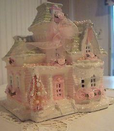 Shabby christmas village house chic pink roses glitter snow lighted