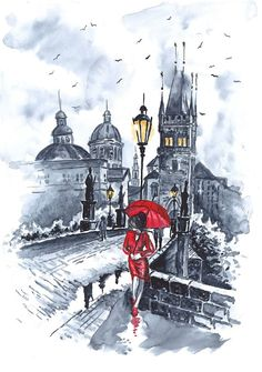 Print from Original Watercolor  Illustration City Art Cityscape Romantic Art Painting Black and White tittled Red Drop Valentins Day via Etsy