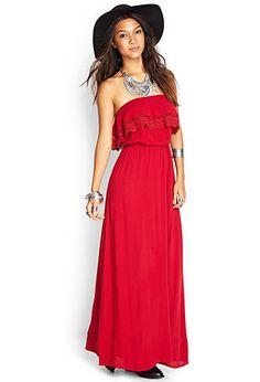 Flounced Crochet Maxi Dress   FOREVER21 - 2055879483