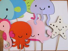 Set of 6 Oversized Girl Under the Sea Centerpieces-It's a GIRL, Girl Sea Creature themed, Baby Showers, Birthday Parties