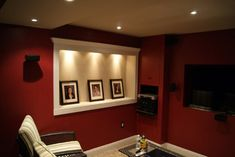 My small basement tv/theatre room pic. - Home Theater Forum and . Home Theater Wiring, Home Theater Installation, Theater Room Decor, Home Theater Rooms, Best Home Theater, Home Theater Design, Basement Renovations, Home Remodeling, Basement Ideas