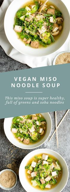 Vegan Miso Soup is healthy, full of greens, ginger, and soba noodles