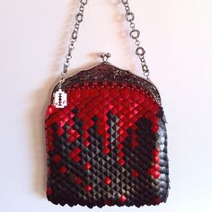 scale mail dice bag of holding in knitted dragonhide red and black