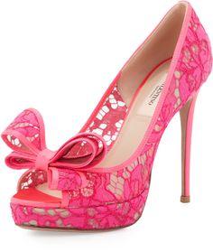 Valentino Peep-Toe Lace Bow Pump, Pink on shopstyle.com.au