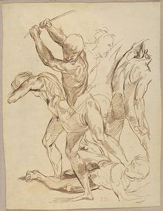 Eugene Delacroix, Combat of Nude Men, after Raphael, c. 1823