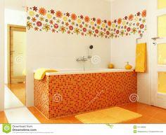 Modern Bathroom In Orange Color Stock Photo - Image: 24148000
