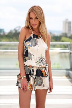 Print Jumpsuit Short Backless Sashes Playsuits | GonChas