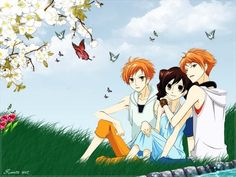Ouran High School Host Club.  Kaoru, Hikaru and Haruhi. I think she needed to stay with one of the twins instead.