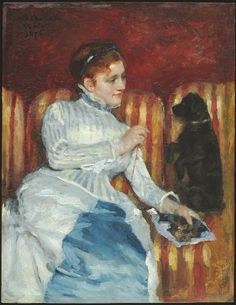 Mary Cassatt American (Allegheny City, PA 1844 - 1926 Le Mesnil-Theribus, France) Woman on a Striped Sofa with a Dog, 1876  American, 19th century  Creation Place: United States  Oil on wood panel  41.9 x 33.3 cm (16 1/2 x 13 1/8 in.)  framed: 58.4 x 49.2 x 6 cm (23 x 19 3/8 x 2 3/8 in.)  Harvard Art Museums/Fogg Museum, Gift of Mr. and Mrs. Peter I. B. Lavan, 1961.159