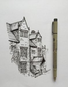 art drawing pen sketch illustration architecture house is part of pencil-drawings - Landscape Sketch, Landscape Drawings, Landscape Design, Art Drawings Sketches, Pencil Drawings, Drawings Of Buildings, Simple Drawings, Stylo Art, Architecture Sketches