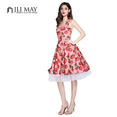 JLI MAY New arrive Party Vintage 50s Rockabilly pink Strawberry Sleeveless plus size pin up women summer Dress Audrey Hepburn S *** Visit the image link more details.