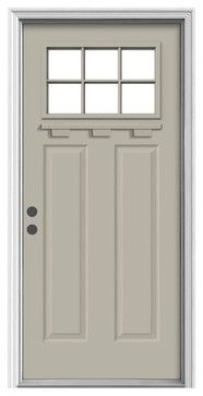 JELD-WEN Craftsman 1-Lite Painted Steel Entry Door with Brickmould-THDJW167700920 at The Home Depot | trailer | Pinterest | Craftsman Doors and Steel  sc 1 st  Pinterest & JELD-WEN Craftsman 1-Lite Painted Steel Entry Door with Brickmould ...