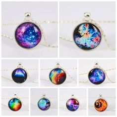 Vintage Galaxy Necklace Dragon Glass Cabochon Pendant Silver Plated Chain Necklace Mysterious Gift No 7 Bestselling