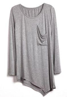Grey Round Neck Long Sleeve Asymmetrical Cotton T-Shirt - Sheinside.com Mobile Site