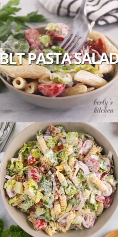How can you go wrong with a BLT pasta salad? All the flavors of everyone's favorite sandwich combined with ranch dressing, crunchy veggies, and pasta! Blt Pasta Salads, Ceasar Pasta Salad, Tuna Pasta, Pasta Food, Easy Pasta Salad Recipe, Cold Pasta Recipes, Good Healthy Recipes, Soup And Salad, Pasta Salad With Ranch