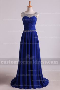 Bead Boat Neck Royal Long Prom Dresses with Pleated Bodice LOXF138