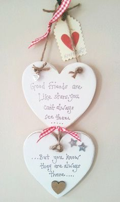 Friend GIFT heart plaque good friends are like stars shabby chic handcrafted