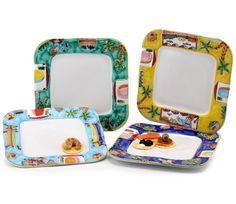 LA MUSA - Square Dinner Plates, s/4, w/ wavy freeform rims in the four La Musa designs. | Artistica Italian Ceramics