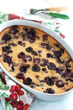 The secrets of this clafoutis? Not only is it gluten-free, Darling, this cherry clafoutis is dairy-free and refined sugar free. I used pure maple syrup to subtly sweeten the almond milk based custard. Coconut flour and brown rice flour are the gluten-free flours I chose to thicken it into its lovely pudding cake texture- light, yet rich. Beyond delightful.