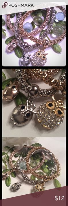 """🌸OWL STRETCH🌸BRACELETS FASHION JEWELRY WITH A GOLD, SILVER, AND ROSE STRETCH BRACELET WITH 3 LITTLE ADORABLE OWLS ONE ON EACH ONE. NEW IN BAG. WILL FIT A 7-8"""" WRIST🦉 boutique Jewelry Bracelets"""