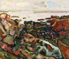 Bernard Chaet, Two clouds, Bass Rocks, 1997,  Oil on Canvas