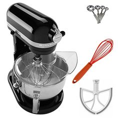 KitchenAid Professional 600 Series Stand Mixer, Onyx Black + Beater Blade for + Stainless Steel Measuring Spoon Set + Silicon Whisk. Assembled with Pride in Greenville, Ohio. Kitchen Stand Mixers, Kitchen Aid Mixer, Kitchen Appliances, Kitchenaid Professional 600, Spice Set, Black Friday Specials, Measuring Spoons, Greenville Ohio, Cyber Monday