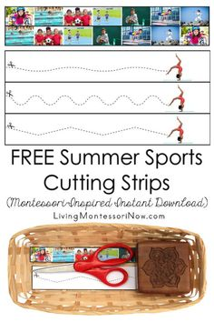 These free Montessori-inspired summer sports cutting strips are an instant download with a variety of skill levels; scissor cutting practice for classroom or home! You'll get cutting strips with seven different summer sports photographs and a second page with a gymnast and more advanced cutting strips - Living Montessori Now Free Summer, Summer Fun, Sand Writing, Cutting Activities, Cutting Practice, Letter Matching, Preschool Themes, Classroom Setup, Exercise For Kids