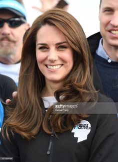 Catherine, Duchess of Cambridge meets Heads Together runners in the Blue Start area as they prepare for the 2017 Virgin Money London Marathon on April 23, 2017 in London, England.
