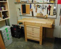 +1 bancada, desta vez uma bancada de pequeno porte, com um gaveteiro para ferramentas: https://www.canadianwoodworking.com/plans-proj...