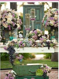 Abundant use of florals and grapes
