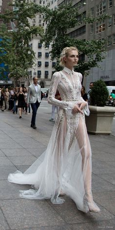 inbal dror 2016 wedding dress with v neck button collar illusion long sleeve lace fit flare wedding dress style 10