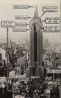 1940s NEW YORK CITY vintage photo and diagram of where airplane hit Empire State Building 28 July 1945 by Christian Montone, via Flickr