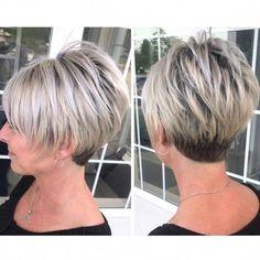 Grey Hair Short Bob, Short Hair With Layers, Short Hair Cuts For Women, Short Cuts, Haircuts For Fine Hair, Short Pixie Haircuts, Pixie Hairstyles, Short Wedge Hairstyles, Short Wedge Haircut