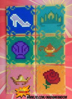DISNEY PRINCESS Coasters with Carriage Display Box perler beads by MadamFandom